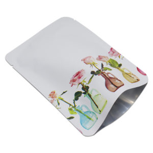 Matte White Open Top Rose Printed Pure Aluminum Foil Bag