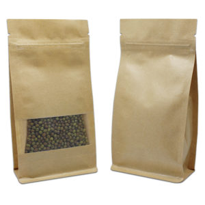 Stand Up Kraft Paper Zip Lock Self Sealing Packing