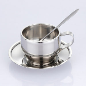 Stainless steel coffee cup saucer and spoon set