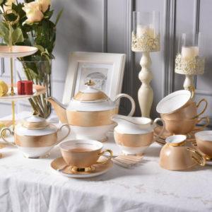 Europe Gold Luxury Bone China Coffee Set