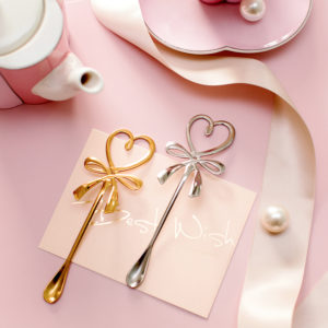 3D Bow Knot Heart Shaped Mini Coffee Spoon